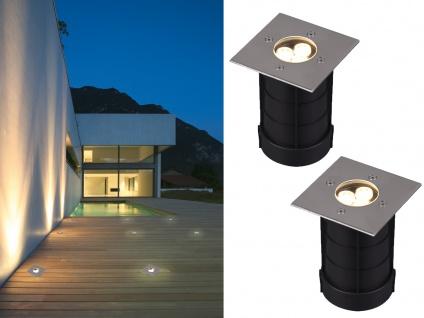 LED Bodeneinbauspot 2er Set eckig Edelstahl 11cm Bodenstrahler Einfahrt Terrasse