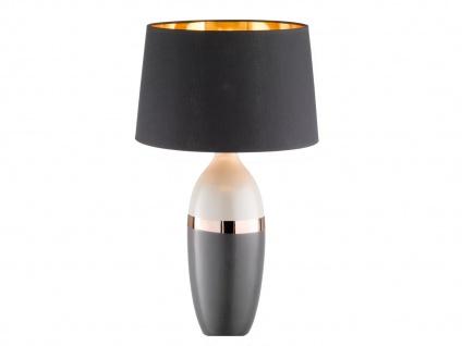 LED Keramiktischleuchte grau schwarz, Lampenschirm Textil kupfer, Flurlampe 45cm