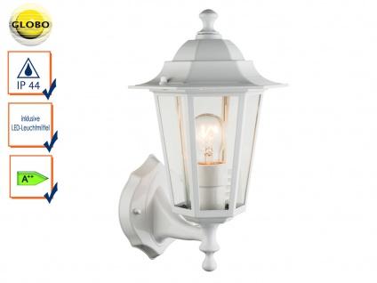 Globo Wandleuchte / Außenleuchte Laterne Weiß mit LED, Fassadenbeleuchtung Haus
