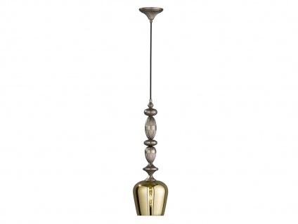 Design LED Pendelleuchte mit Lampenschirm transparent gold 18cm, Esstischlampe