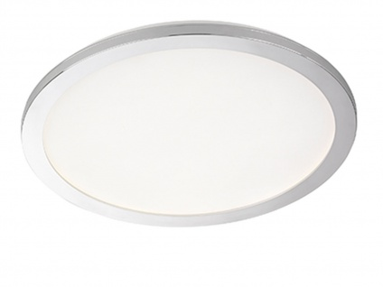 Dimmbare LED Deckenlampe Badezimmerleuchte Ø 40cm, Chrom Acrylglas weiß, IP44