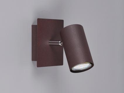 Dimmbare LED Wandlampe für Innen aus rostfarbigem Metall mit schwenkbarem Spot