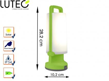 Universal LED Solarleuchte mit USB Ladefunktion dimmbar IP54 H. 28, 2cm Grün