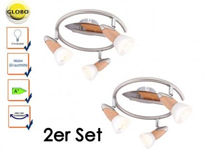 2er Set Globo Deckenleuchte LED Deckenstrahler LORD mit Holz, Schirme satiniert