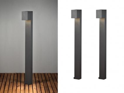 2er SET LED Pfostenleuchte aus ALU in anthrazit 100cm hohe Außenbeleuchtung IP54