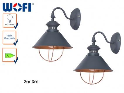 2er Set FLORENCE Retro Wandlampe, grau, Wandleuchte Vintage Industrie Design