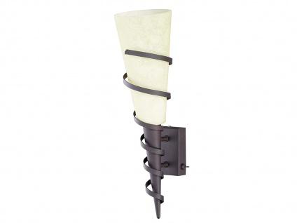 Rustikale Wandlampe mit Schalter Rostoptik mit Glas Kolonialstil fürs Wohnzimmer