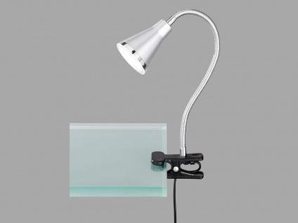 LED Klemmleuchte flexibel Schwanenhalslampe Silber Schreibtischlampe Leselampe