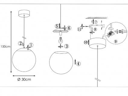 Ausgefallene Pendelleuchte Kugel Glas Kristalloptik Ø 30cm E27 - Esstischlampen - Vorschau 4