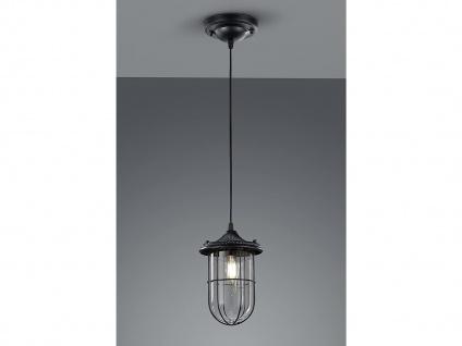 LED Hängelampe schwarz Lampenschirm Glas 14, 5cm, Retro Pendelleuchte Vintage