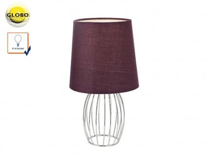 Design Tischleuchte AKIN modern Textilschirm lila, Tischlampe Wohnzimmer Flur