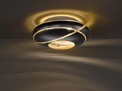 Coole Deckenlampe Ø50cm - Made in Europe! Glaslampenschirm in Schwarz & Gold E27