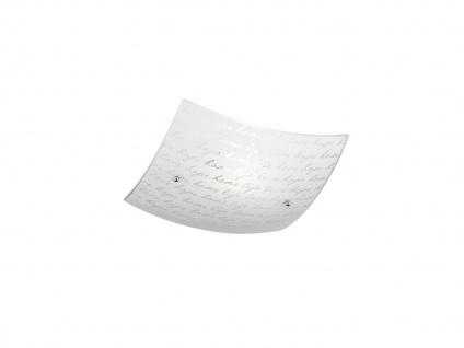 Dimmbare LED Deckenlampe 30x30cm satinierter Glas Lampenschirm in weiß mit Dekor