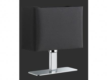 Tischleuchte in Chrom mit eckigem Stofflampenschirm in Schwarz, Wohnraumleuchte - Vorschau 2