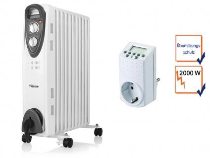Mobile 2000W Elektroheizung, Thermostat & Zeitschaltuhr, Raumheizgerät mit Timer
