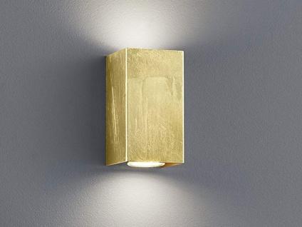 Up & Down LED Wandlampe rechteckig in gold foliert 15x8x8cm, modernes Flurlicht