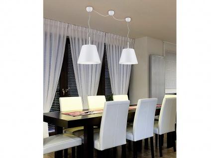 Edle Pendelleuchte mit Stoff Lampenschirm in weiß matt/silber coole Eßtischlampe