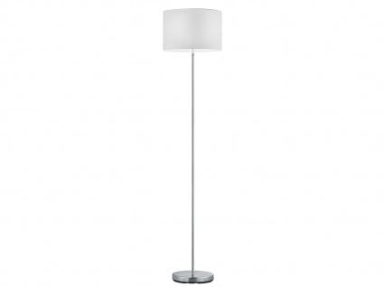 Design Stehleuchte mit rundem Stoffschirm in Weiß - Standlampen fürs Wohnzimmer