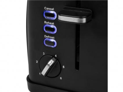 Kompakter Design Toaster Edelstahl Schwarz matt Aufwärm- & Auftaufunktion 950W - Vorschau 4