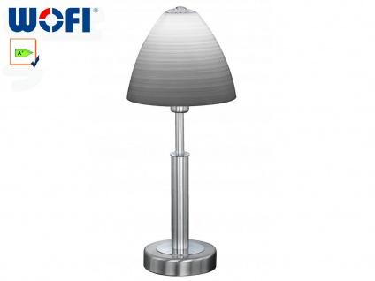 Tischleuchte Nickel matt / Glas weiß gewischt, Wofi-Leuchten