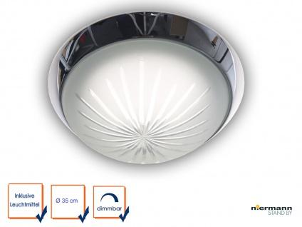 Runde LED-Deckenleuchte, Schliffglas satiniert, Chrom, Ø 35cm LED Flurleuchte