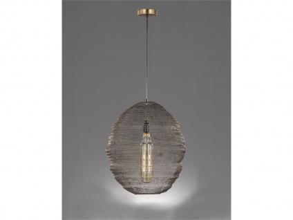 Design LED Pendelleuchte mit Lampenschirm altmessing 46cm, moderne Esstischlampe