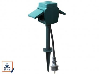 2-Fach Gartensteckdose mit Erdspieß, IP44, inkl. Kinderschutz Stromverteiler