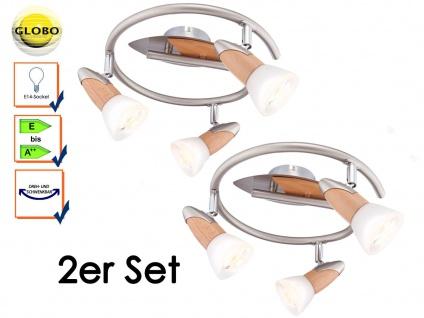 2er Set Globo Deckenleuchten Deckenstrahler LORD Holz, Strahler Deckenlampen E14