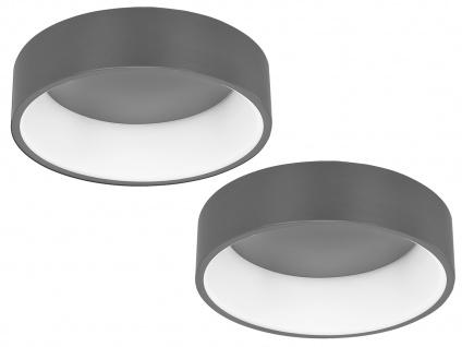 Große runde LED Deckenleuchten mit Metallschirmen grau - 2er Set fürs Wohnzimmer
