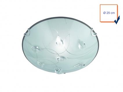 Exklusive Deckenleuchte rund Ø 25cm aus Glas in weiß mit verspielter Glasdeko - Vorschau 3