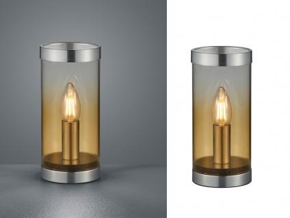 Ausgefallene Glas Tischleuchte Zylinder LED Tischlampe Nachttischlampe Gold - Vorschau 3