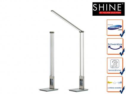 LED Schreibtischleuchte SHINE Nickel matt verstellbar dimmbar Höhe 98cm Büro