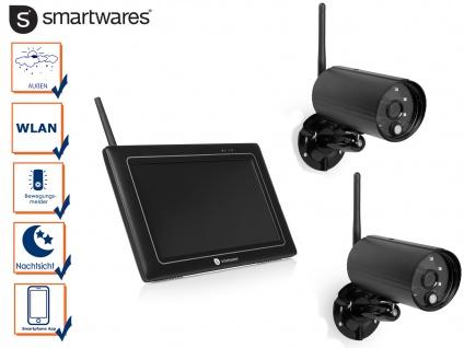2x Wlan Überwachungskamera + Monitor, Nachtsichtkameras Außenkamera Appsteuerung