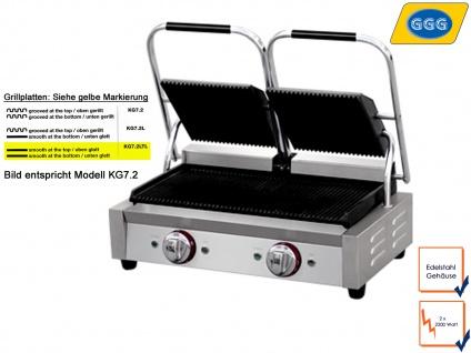 Profi Edelstahl Kontaktgrill Platten glatt, 2200W, Gastro Elektro Panini Grill