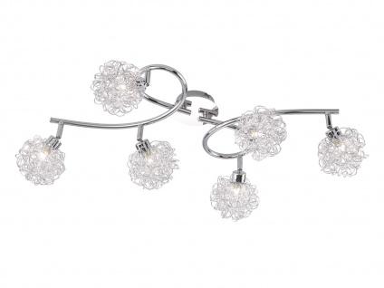 Design Deckenleuchte 6 Spots drehbar Silber, Wohnraumleuchte Bürolampe Diele