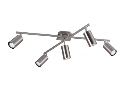 Bürolampe mit 5 Schwenkbaren Deckenspots aus Metall, Wohnraumleuchte Nickel matt