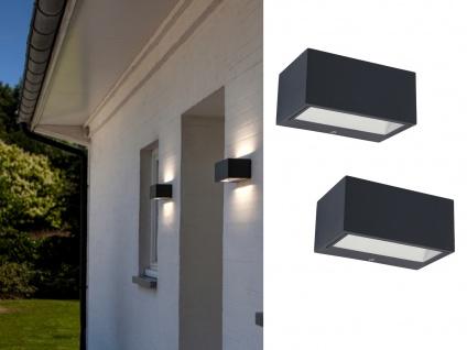 Hochwertige eckige LED Außenwandleuchten ALU Anthrazit Up and Down Lampen B.14cm