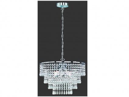 Großer LED Kronleuchter runder Lüster Pendel Chrom mit Kristallbehang aus Acryl