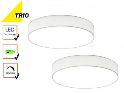 2er Set Trio LED Deckenleuchte dimmbar LUGANO 40cm Stoff weiß, Wohnzimmerlampe