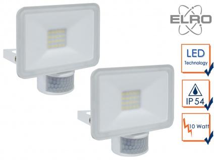 2 LED Strahler Fluter weiß 10W Bewegungmelder 6 Meter Scheinwerfer Wandstrahler
