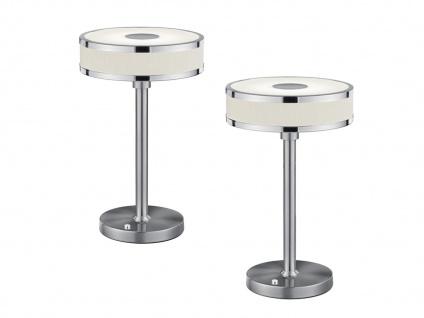 Ausgefallene Silber Tischleuchten im 2er SET, Weiße Stofflampen mit Sensordimmer