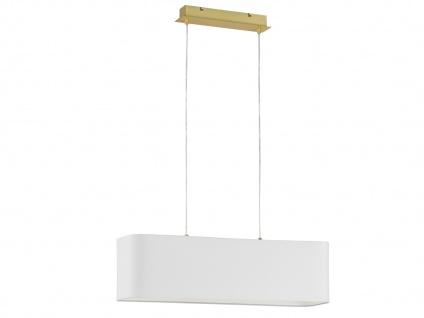 DESIGN LED Deckenleuchte Stoffschirm weiß 80x25 cm Wohnraumleuchte Esstischlampe