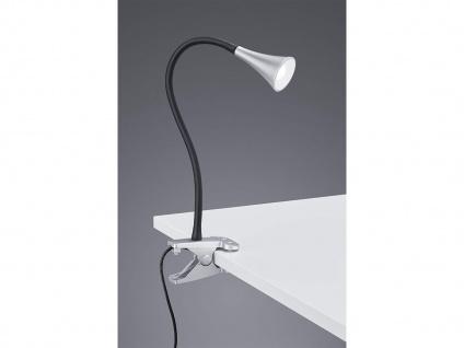 LED Klemmleuchte flexibel Schwanenhalslampe silber Schreibtischlampe Leselicht