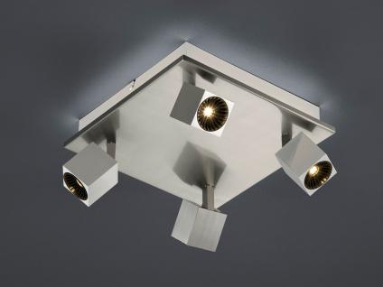Eckige LED Deckenleuchte 4fl. Nickel matt indirekte Beleuchtung für Wohnzimmer