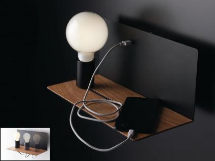 Stylishe USB Wandleuchte Schwarz mit verstellbarer Lampe, Ladefunktion & Ablage