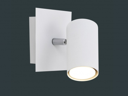 Zeitlose Wandlampe Marley aus weiß mattem Metall mit 1 schwenkbarem Spot & LED