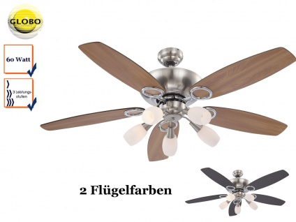 Deckenventilator 130cm, Licht und Zugschalter, Flügel Buche / graphit, Globo