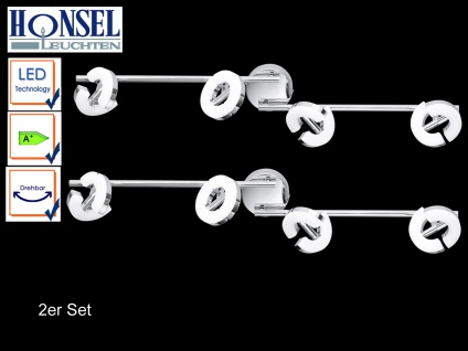 2 LED Deckenstrahler 4-fl. Chrom Acrylglas Spots drehbar Deckenbeleuchtung Büro