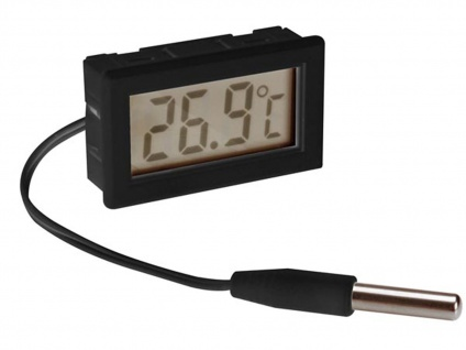 Digitales Einbauthermometer mit Temperaturfühler, Thermometer Innen / Außen - Vorschau 2