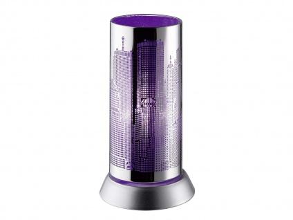 Moderne Tischleuchte rund aus Metall Lasercut Motiv City Ø 9cm für Wohnzimmer